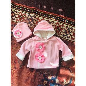 FREE* with purchase pink fleece coat and hat!